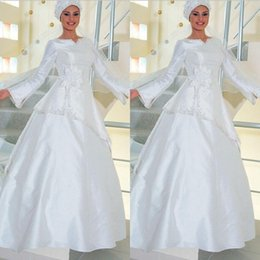 Wholesale Dresses Loose Beads - Jewel Neck Loose Wristband 2015 Satin Muslim Wedding Dresses Long Sleeves Beaded Floor Length A Line Arabic Beidal Gowns Custom Made