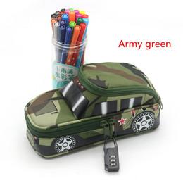 Wholesale Camouflage Pencil Case - Pencil Case Vehicle Pen Pouch Bag With Password Lock Boys Double Zipper Camouflage Canvas Large Capacity School Pencil Box Auto