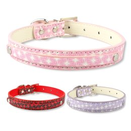 Wholesale pink leather dog collar large - (3 colors) 50pcs DIY Name Leather Pet Collar Personalized Dog collars for 10mm letters Red Pink Purple