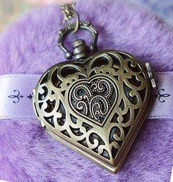 Wholesale Vintage Heart Shaped Pocket Watches - 12 pcs lot free shipping fashion vintage antique bronze heart-shaped hollow pocket watch pendant necklaces