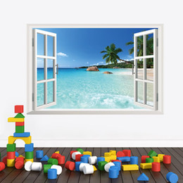 Wholesale Scenery Window Sticker - Free Shipping 3d Coastal scenery Coconut trees Ocean beach window wall stickers living room home decor JIA219
