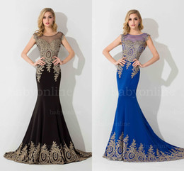 Wholesale Robes Pageant - Real Image Blue Black Pageant Dresses 2017 Sheer Neck Sleeveless Illusion Back Mermaid Applique Evening Dress Formal Gowns Robe Soiree