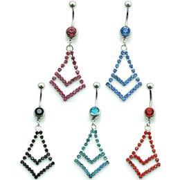Wholesale Rhombus Ring - Piercing Jewelry Fashion Belly Button Rings Dangle 5 Color Rhinestone Rhombus Stainless Steel Sexy Navel Rings