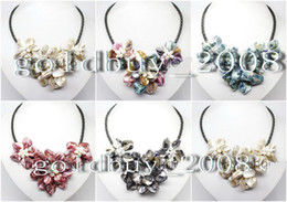 Wholesale Crystal Flower Necklace Handmade - Wholesale Cheap handmade shell pearl crystal mother of pearl flower Pendants Necklaces Fashion