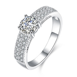 Wholesale Simulated Diamonds Jewelry For Men - New Arrival Wedding Rings for Women Men 925 Sterling Silver Round Crystal Simulated Diamond Ring Jewelry