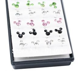 Wholesale Colored Earring Studs - earrings 925 Sterling silver earrings 2014 Fashion Stud Earrings For Women Multi-Colored Mickey Mouse ED-031