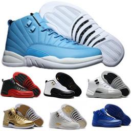 Wholesale Fabrics China - Top Retro 12 XII Basketball Shoes Sneakers Men Women Taxi Playoffs Replicas Gamma White Gray 2017 China Retros Shoes Sports Shoes