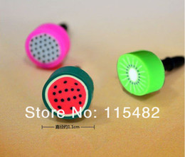 Wholesale Phone Ear Cap Fruit - Wholesale-Cute Fruit Dustproof plug ear cap ear plug for smart phone 3000pcs Free DHL