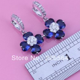 Wholesale Unusual Chandeliers - Wholesale & Retail Unusual White Gold Plated Royal Blue & White Flower-Shaped Fashion Drop Earrings E473