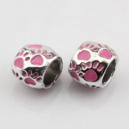 Wholesale Large Metal Circle - Hot Sell ! 50pcs Pink Enamel Footprint Large Hole Spacer Beads Fit Bracelet DIY Jewelry 8x10mm