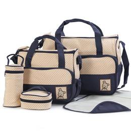 Wholesale Polka Dot Diaper Bags - Wholesale Tote Baby Shoulder Diaper Bags Nappy Mummy Bags 7 Colors 5PCS Kit 2015 New Fashion Zip Polka Dot Waterproof Denim Multi-function