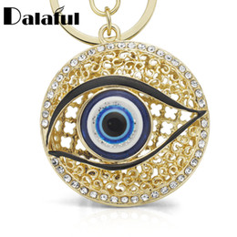 Wholesale Round Blue Acrylic Stars - beijia Eyes Hollow Out Round Metal Key Chains Rings Crystal Purse Bag Buckle Pendant For Car Keyrings KeyChains K165