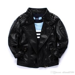 Wholesale Leather Jacket Black Wholesale - Cool 2016 boys kids coat Quality locomotive PU leather jacket Rivets big collar handsome children Autumn winter jackets outwear wholesale