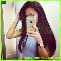 Wholesale Blonde Wig Curly Ponytail - Italian Yaki Full Lace Wig Brazilian Virgin Human Hair Lace Front Wigs With Baby Hair Long Italian Yaki Lace Front Ponytail Wigs