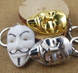 Wholesale Keychain Favors For Men - NEW Hot fashion Cartoon Game movie Key V for Vendetta hacker mask alloy keychain wedding favors keychain cc69