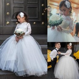 Wholesale Little Girl Collar Shirts - Princess 2017 Little Flower Girl Wedding Dresses with Sheer Lace Long Sleeve High Neck Pageant Gowns White First Communion Dress