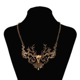 Wholesale Vintage Elk - hot sale Fashion Jewelry Wholesale Big Brand Vintage Elk Deer Temperament Choker Statement Necklace Free Shipping