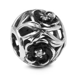 Wholesale Clear Glass Floral Flowers - Mystic Floral with Clear CZ & Black Enamel 100% 925 Sterling Silver Beads Fit Pandora Charms Bracelet Authentic DIY Fashion Jewelry
