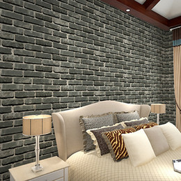 Wholesale Rolling Stones Vintage - Wholesale- Deep Embossed 3D Brick Wall Paper Modern Vintage Brick Stone Pattern Paper Wallpaper Roll For living room Wall Covering Decor