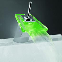 Wholesale Square Waterfall Glass - LED LIGHT square Glass Waterfall Bathroom Basin FAUCET chrome polished mixer vanity torneira banheiro cozinha hansgrohe