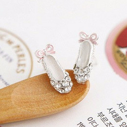 Wholesale Wholesale Shoes Jewerly - Full Crystal Ballet Shoes Bow Stud Earring Fine Jewerly For Women Girl Earrings 925 Sterling Silver Color