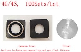Wholesale Iphone 4s Rear - 100% High Quality for iPhone 4 4G 4S Rear Camera Lens Tempered Glass+Flash Diffuser (100Sets Lot) (407IPAM100)