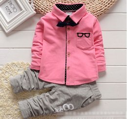 Wholesale Set Boy Piece Tie - boys clothes baby boy gentleman clothing sets kids tshirts bow tie + stripe pants baby outfits toddler infant tuxedo boy suits 2015 boutique