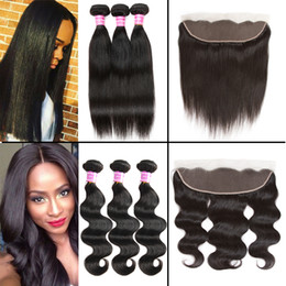 Wholesale Human Body Ears - Straight 8A Brazilian Virgin Hair Body Wave 3 Bundles with Ear to Ear Frontal Closure Unprocessed Peruvian Wet and Wavy Human Hair Extension