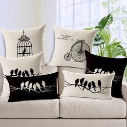 """Wholesale Memory Movies - 1PC 45*45cm Simple Fashion Cotton Linen Throw Pillow Case Home Car Decor Cushion Cover Square Pillow Cover Branches Birds Movies 18"""""""