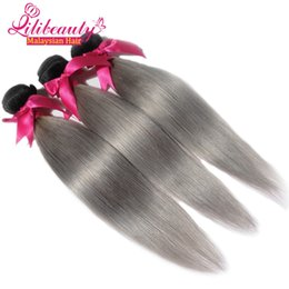 Wholesale Discount Remy Hair 22 - Discount! 100g pc Lili Hair Products 1bgrey Remy Real Human Hair Extension For Women Grade 7A Virgin Malaysian Human Hair Weft