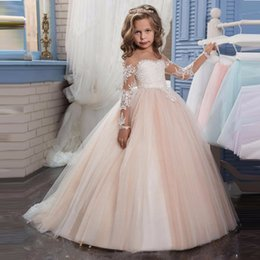Wholesale flowers pastel - Real pictures Ivory Long Sleeves Wedding Flower Girl Dresses Lace Sash Off the Shoulder Tutu Kids Communion Dresses for Girls Pageant