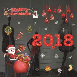 Wholesale Hotel Shopping - 2018 Christmas glue paste static Christmas window decoration Christmas window stickers New Year shopping hotel decoration free shipping