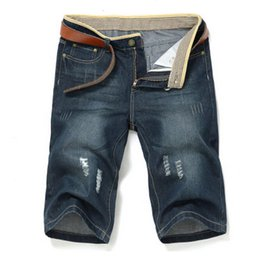 Wholesale Mens New Stylish Jeans - Wholesale-Summer style 2015 new men's stylish jeans ripped jeans denim shorts for men straight shorts jean mens high quality cowboy