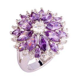 Wholesale Amethyst Ring 11 - Bohemia Style Beautiful Flower Clusters Series Amethyst 925 Silver Ring Size 7 8 9 10 11 12 13 Fashion Women Jewelry Wholesale