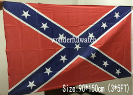 Wholesale Dixie Rebel - 100 pcs Dixie Battle Flags Civil War Confederate National Flags 3'*5' Rebel Battle Flags 150*90cm Two Sides Printed Polyester Flags