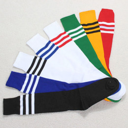 Wholesale Sexy Boots For Girls - Wholesale-Unisex Sport Long Socks,Women 5 Colors Stripe Cheerleader Knee High Sock,Sexy Cute Boots Football Socks For Girls