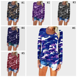 Wholesale Long Sleeved T Shirts Ladies - Women Long Sleeve Camouflage Tee Shirts Tops Camo T-Shirts Casual Blouse Tops Lady Loose T-Shirt 50pcs LJJO3548