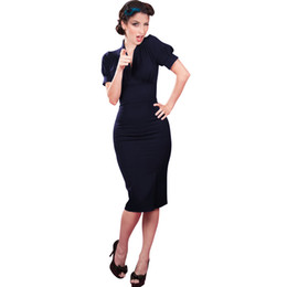 Wholesale Sexy Office Wear Womens - Womens Elegant Business Office Dress V-neck Short Sleeves Navy Knee-length Drapped Bodycon Pencil Dress Wear to Work