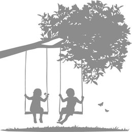 Wholesale Swing Wall Decal Stickers - Kids on Tree Swings Vinyl Wall Sticker Home Decor Baby Room Art Decal