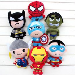 Wholesale Anime Batman Toy - MOQ=1PCS 20cm the avengers plush toy American anime superhero spiderman batman q version stuffed dolls soft toys set movie action figures