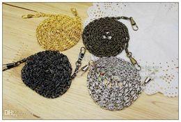 Wholesale Gun Metal Chains - 10pcs 120cm Handle Metal Chain for antique brass  silver  gun black  golden  belt buckle YMDLL Coin Purse Bag DIY Accessory