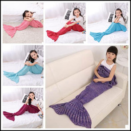 Wholesale Handmade Kids Bags - 13 Colors 140*70cm Kids Handmade Knitted Mermaid Blankets Mermaid Tail Blanket Crochet Blanket Throw Bed Wrap Sleeping Bag CCA8355 20pcs