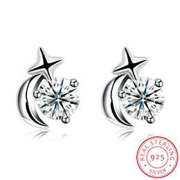 Wholesale Sterling Silver Korean Style Earrings - Romantic Korean Style Zircon 925 Sterling Silver Moon Star Stud Earrings Anniversary Party Christmas Valentine Ladies Girls Teens Women Gift