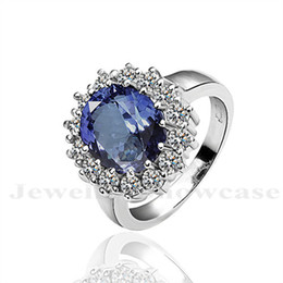 Wholesale Kate Engagement Ring - Simulated Sapphire CZ Engagement Ring Replica Kate Middleton Princess Diana Style The Royal Ring US6-8 with Gift Box
