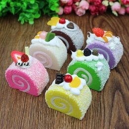 Wholesale Home Party Marketing - Colorful Simulation Fruits Swiss Roll Artificial Squishy Slow Rising Kids Toy Home Kitchen Party Decoration Store Market Display