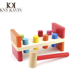Wholesale Toys Power Blocks - 1years educational baby wood toy wooden blocks Souptoys of Power Training&know color learning & education children Beat kid toy