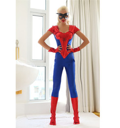Wholesale Sexy Super Man Cosplay - women halloween costume spider man costume spider-man clothing for women sexy cosplay party costume including jumpsuit + eye mask