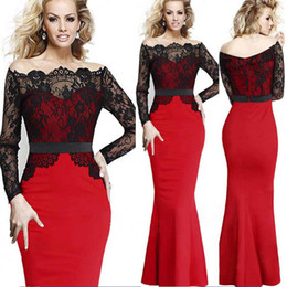 Wholesale Cheap Prom Desses - cheap Black and red long sleeve evening desses 2015 paolo sebastian Lace Mermaid Cocktail Prom Gowns