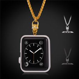 Wholesale Wheat Chain Steel - U7 Wheat Chain Necklace with 38MM 42MM Watch Connector Fashion 18K Gold Black Gun Plated 316L Stainless Steel Jewelry For Men Women GN2550