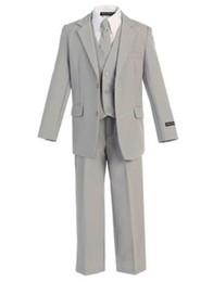 Meninos coletes cinza on-line-2017 Cinza 1-12 Idade Menino Ternos Crianças Partido Príncipe Smoking Personalizado 3 peças (jaqueta + calça + colete) custom made
